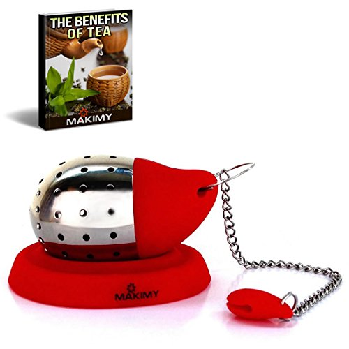 Makimy Drop Tea Infuser - Red - The Perfect Tea Steeper with Drip Tray - Best Tea Strainer for Loose Leaf & Herbal Tea - Stainless Steel and Silicone Tea Filter