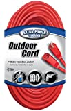 Coleman Cable 02409 14/3 SJTW Vinyl Outdoor Extension Cord, Red, 100-Foot