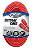 Coleman Cable 02409 14/3 SJTW Vinyl Outdoor Extension Cord, Red, 100-Feet