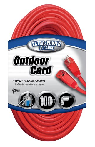 Coleman Cable 02409 14/3 SJTW Vinyl Outdoor Extension Cord, Red, 100-Foot (Electric Extension Cord 100 compare prices)