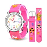 Picture Of Christmas Gifts Pink Girls Princess Butterfly Kids Watch Stainless Steel Back