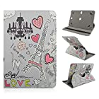 Hannspree T7 10.1 inch Tablet Eiffel Tower Hearts Chandelier Cat CASE COVER with STAND FIT ALL 10 and 10.1 Tablets