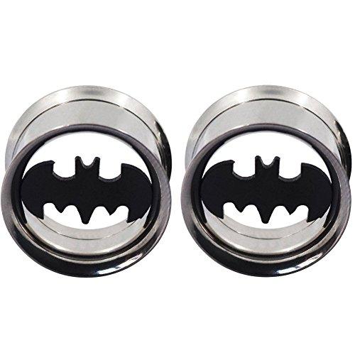 longbeaut acciaio inossidabile Plugs Tunnel orecchio Expander Batman, acciaio inossidabile, cod. FW-K000912
