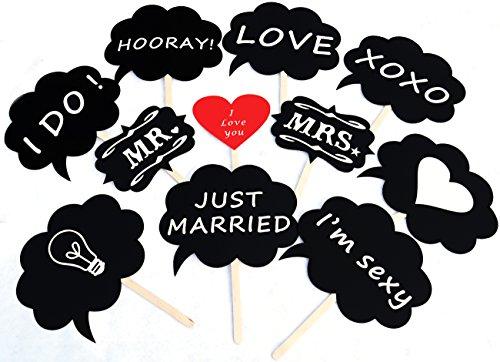 吹き出しフォトプロップス11点セット(HAPPY PROPS)結婚式・二次会・誕生日会写真小道具※スティック装着済み