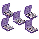 Value 5 Pack of 7dayshop AA / AAA Battery Storage Cases - Purple - Makes AA and AAA Batteries Safer and Easier to Store!