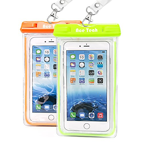 Clear Universal Waterproof Case, Ace Teah Dry Bag, Pouch, Transparent Snowproof Dirtproof Protective Cover for iPhone 6 6S Plus Samsung Galaxy S7 S6 edge S5, Note 5 4 3 2 - Orange, Green (2 Pack ) (Samsung Ace Plus Cover compare prices)