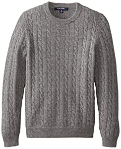Brooks Brothers Big Boys' Swt Cash Crew Cable Grey, Grey, X-Large