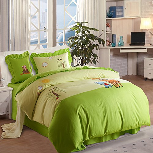 Lt Twin Full Size 100% Cotton Embroidered/embroidery 4-pieces Rabbit Deer Animals Green Deep Green Cute Toddler Cattoon for Kids Print Bedding Duvet Cover Set/bed Linens/bed Sheet Sets/bedclothes/bedding Sets/bed Sets/bed Covers/bedroom Sets/5-pieces Com