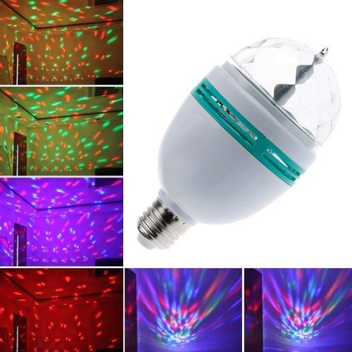 Lemonbest® 3W Rgb Revolving Disco Ball Lamp, Voice Control E27 Led Rotating Stage Light For Dj Party Club Bar Home