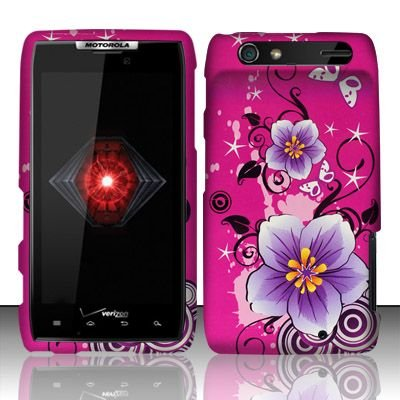 For Motorola Droid RAZR XT912 (Verizon) Rubberized Hibiscus Flowers Design Snap-on Protector Hard Case