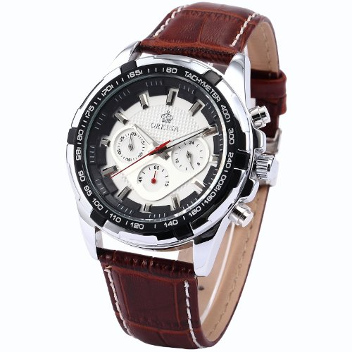 Orkina Men'S Chronograph Brown Leather Band Sport Quartz Wrist Watch Ork133