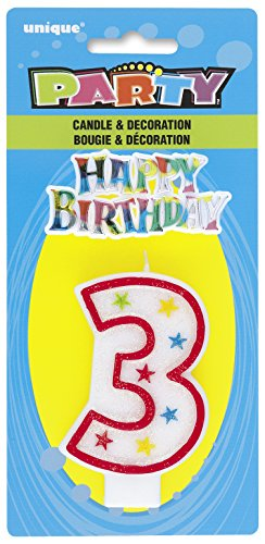 Cake Decoration #3 Glitter Birthday Candle (1ct) - 1