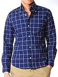 (スペイド) SPADE シャツ メンズ 長袖 黒 白 カジュアル 日本製 カッターシャツ【q185】 (L, ウィンドーペンネイビー)