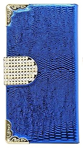Mylife (Tm) Navy Blue {Crocodile And Bling Buckle Design} Faux Leather (Card, Cash And Id Holder + Magnetic Closing) Slim Wallet For The Iphone 5C Smartphone By Apple (External Textured Synthetic Leather With Magnetic Clip + Internal Secure Snap In Hard R