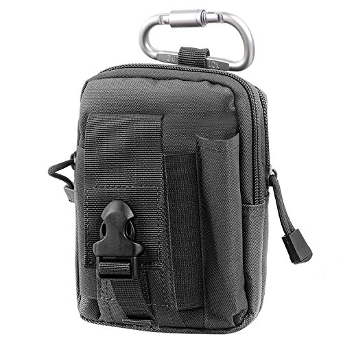 Compact Multi-Purpose Tactical MOLLE EDC Utility Gadget Pouch Tools Waist Bag Pack (Black2) (9mm Bullet Belt compare prices)