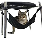 BestNow Adjustable Velcro Cat Crib Hammock Under Chair Lounge Bed Creative Cat Pet Hammock Bed (Black)