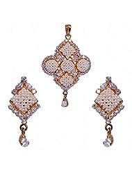 Pearl & Cubic Zircon Studded Pendant & Earrings Set