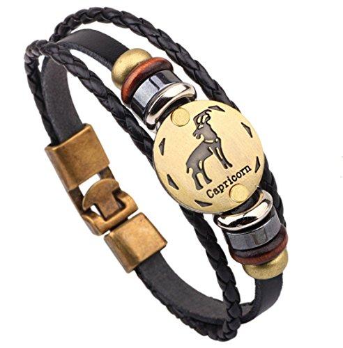 fengteng echtes leder handgewebte perlen armband sternzeichen steinbock schmuck armband. Black Bedroom Furniture Sets. Home Design Ideas
