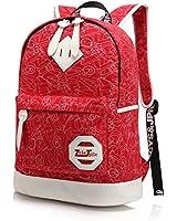 ZeleToile Canvas Printing School Backpack Casual Shoulder Bag for Teen Girls & Boys Red