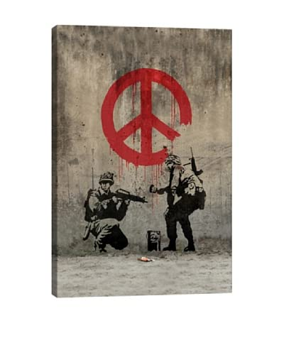 Banksy Soldiers Painting Peace Canvas Print As You See