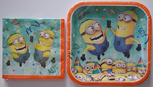 Childrens-Party-Supplies-Party-Dinner-Kit-Despicable-Me-Minion-Plates-and-Napkins