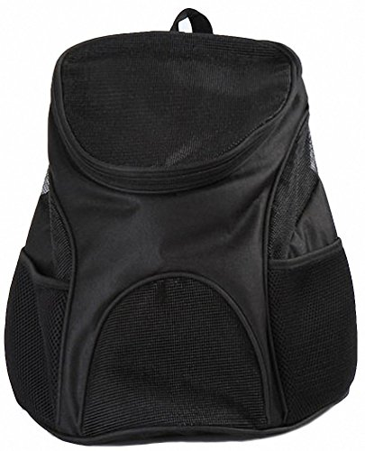 Kenox Cat Dog Pet Carrier with Mesh Windows Soft-sided Outdoor Travel Backpack for Pet (Black-1)