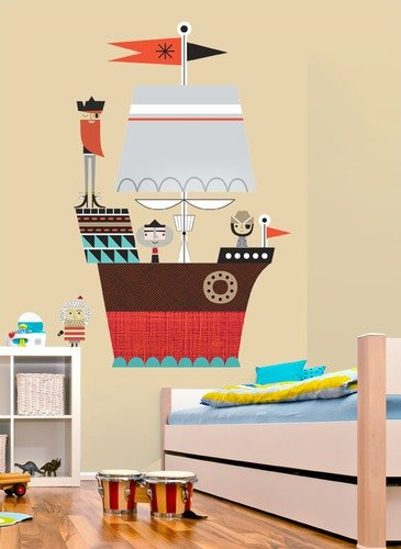 Oopsy Daisy Peel and Place Redbeard and Crew Pirate Ship by Suzy Ultman, 54 by 60-Inch