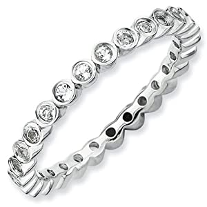 Small White Topaz Eternity Stackable Ring - Size 9