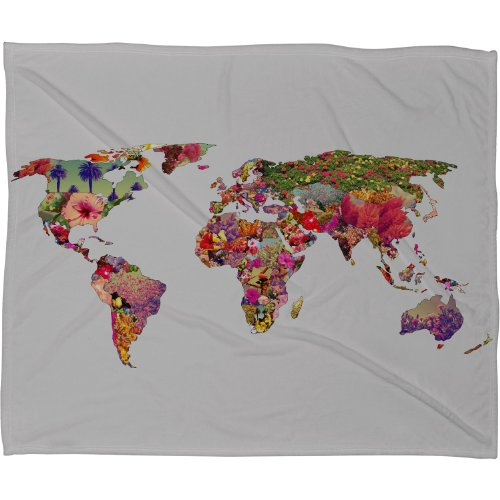 Deny Designs Bianca Green Its Your World Fleece Throw Blanket, 80 By 60-Inch front-912595