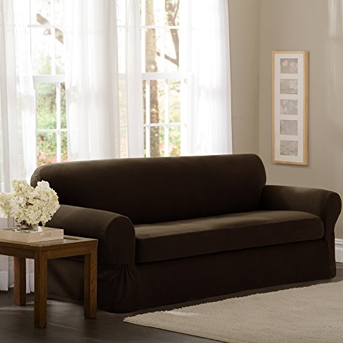 Maytex Pixel Stretch 2-Piece Sofa Slipcover, Chocolate (Cheap Couch Covers compare prices)