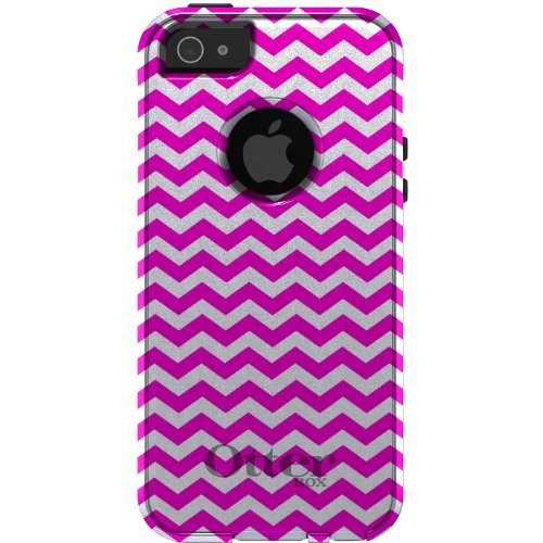 Great Price CUSTOM OtterBox Commuter Series Case for iPhone 5 5S - Chevron Stripes Zig Zag (White & Bright Pink)