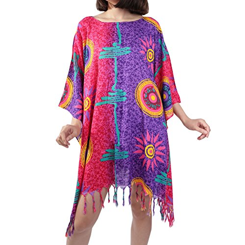 Rita & Risa Women's Lightweight Printed Boho Hippie Top Short Caftan Dress (Large, Red-Purple) (Girls Red Sequin Shoe Covers)