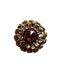 Unicorn Adjustable Red And White Ethnic Fashion Ring With Kundan On Non-Precious Metal For Women