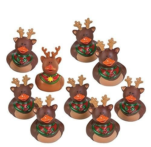 Set of 9 ++ ++ Fun Express Reindeer Rubber Duckies Christmas Duck Party Favors Set (Tiny Cracker Cutters compare prices)