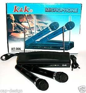 Double micros microphone sans fil wireless VHF/recepteur karaoke