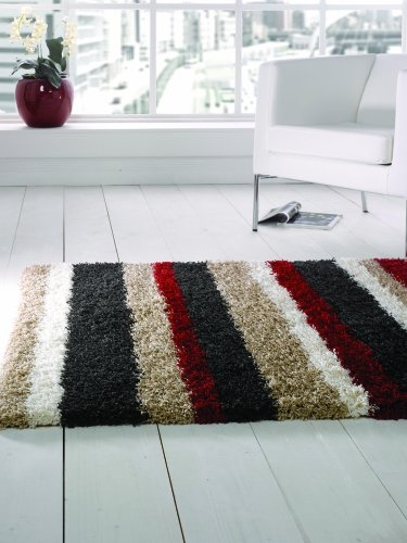 Flair Rugs Nordic Channel Shaggy Rug, Black/ Red, 120 x 160 Cm