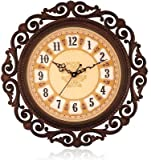 sns creations steven designer round wall clock - 41 cm x 41 cm, Brown