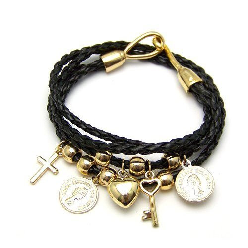 Jc-31. Black Thread Vintage Bracelet Wrap for Your Wrists, Our Ribbon Charms Fashion Bracelet Twists and Turns Around a Brilliant Bangle of Gold Charms, Finishing with Our Logo Puffed Heart Key and Coin Charms- Gold Finish. Fast Delivery See Larger Image Share Your Own Customer Images Jc-33. Black Thread Vintage Bracelet Wrap for Your Wrists, Our Ribbon Charms Fashion Bracelet Twists and Turns Around a Brilliant Bangle of Gold Charms, Finishing with Our Logo Puffed Heart Key and Juicy Coin Charm