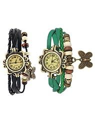 Felizo Set Of 2 Fancy Vintage Black & Green Leather Bracelet Butterfly Watch For Girls & Women - Combo Offer