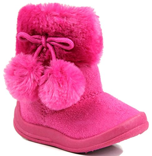 Kali Footwear Girls Bany Flat Pom Pom Ankle Boots,Hot Pink,5 back-12880