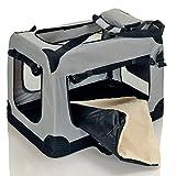 faltbare-Hundetransportbox-gepolsterte-Haustier-Reise-Autobox-Welpen-Katzen-Tragetasche-mit-Henkel-Grau-Gr-XL