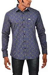 Indipulse Men's Casual Shirt (IF11600614B, Blue, XL)