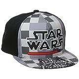 Star Wars Boys' Flat Brim Cap with Darth Vader On Brim, Black, One Size