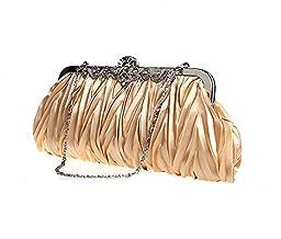Pulama® Evening Handbag Classic Satin Detachable Strap Gold Clutch