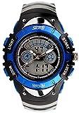 5 色 キッズ 子供 ダイバーズ LED ライト 多機能 腕 時計 デジアナ 防水 ストップ ウォッチ スポーツ アウトドア (ブルー)