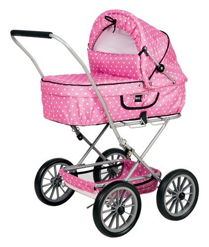 BRIO 90131 BRIO Doll Pram Gull Pink with Dots