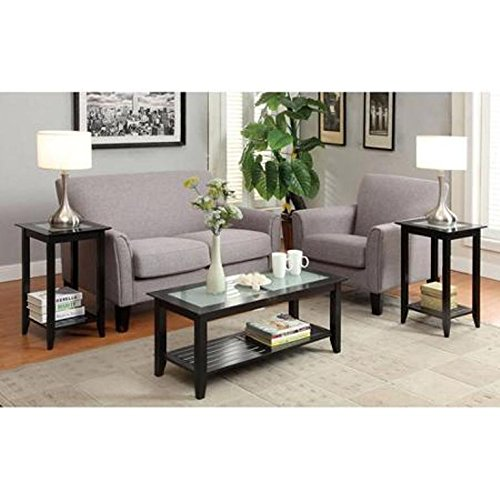 Convenience Concepts Carmel Coffee Table and Two Tall End Tables, Black