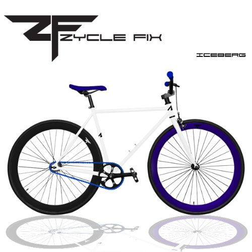 Zycle Fix ICEBERG Fixed Gear Bicycle; White with Black Blue (Iceberg)