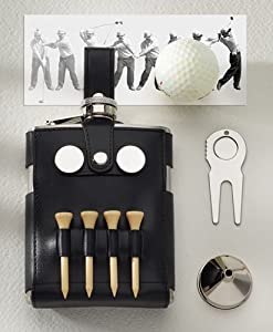 GOLF FLASK WITH BLACK GOLF CASE - GOLF FLASK W/ BLK GOLF CASE, STAINLESS STEEL.