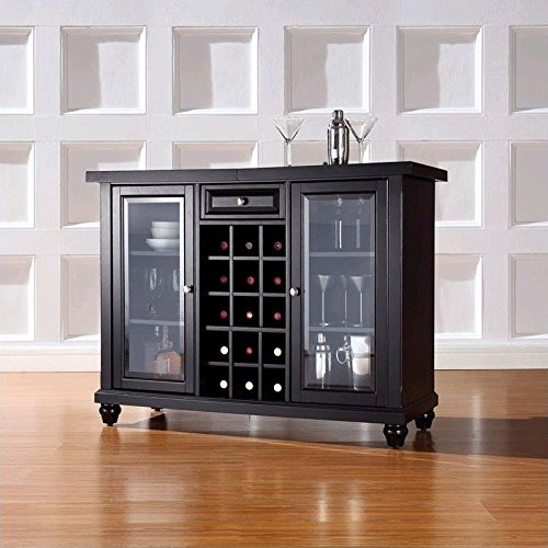Crosley Cambridge Sliding Top Bar Cabinet, Black Finish (Crosley Wine Cabinet compare prices)